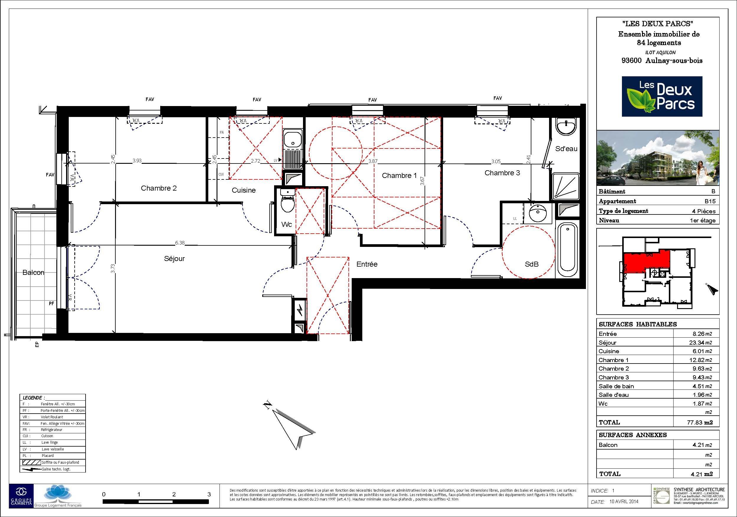 Les deux parcs programme immobilier neuf aulnay sous bois 93 gambetta - Plan appartement 120 m2 ...