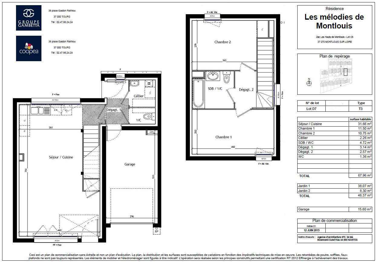 Plan maison t3 fabulous n t villa du parc with plan for Plan maison t3
